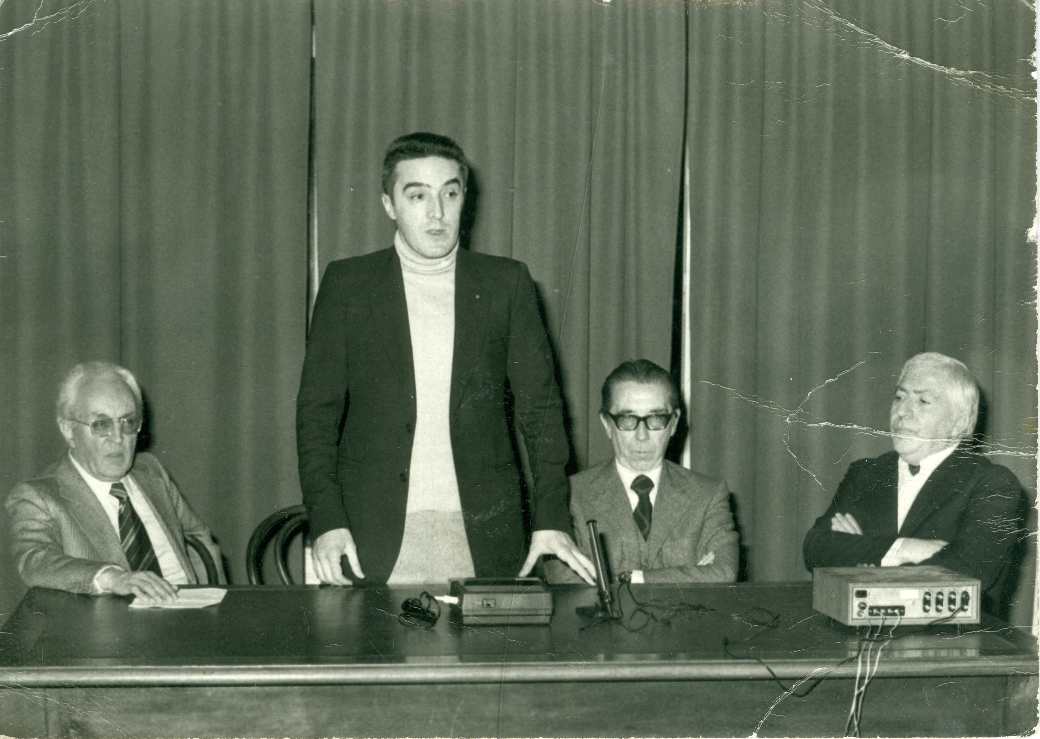 1974 - Vittorio Tavernari con Piero Chiara, Silvano Colombo e Riccardo Malipiero